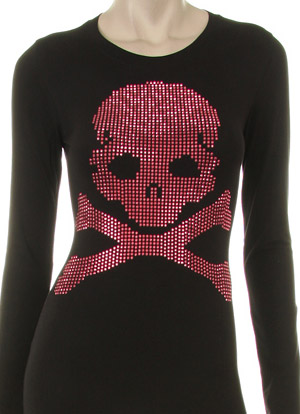PINK JUMBO SKULL AND BONES RHINESTUD DESIGN LONG SLEEVE CREW NECK SHIRT