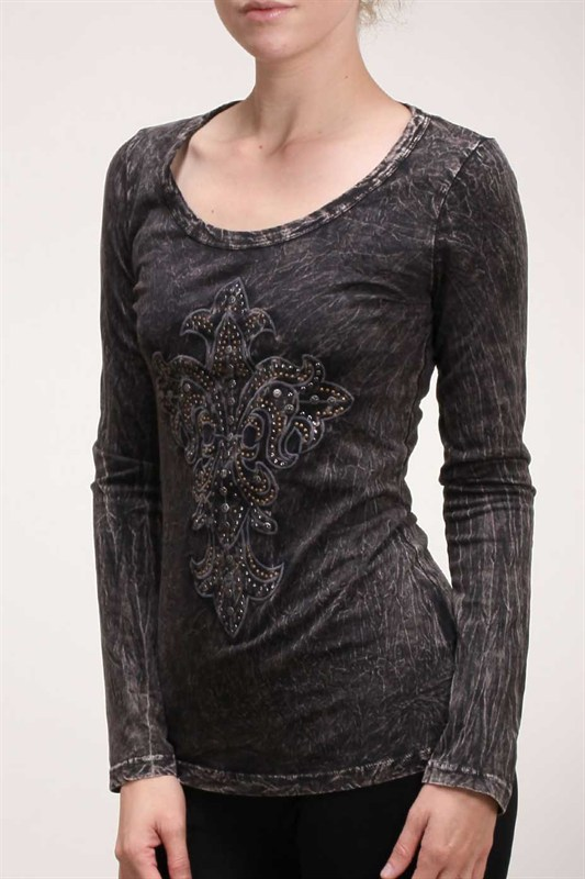 Fleur de Lis Cross with Studs L/S Shirt by Urban X