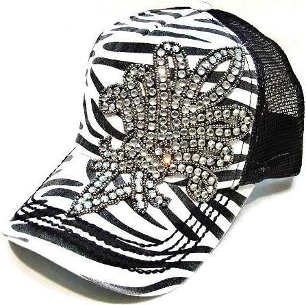 Bling Fleur de Lis Trucker Hat - Zebra by Olive & Pique