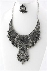 Black/Silver Rhinestone Necklace Set