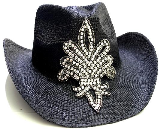 03fd9be6176 BlinG fleur de lis cowboy hat