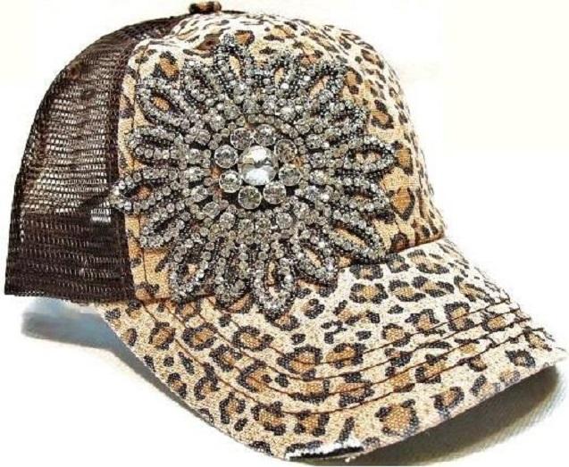 Rhinestone Flower Brown Leopard Trucker Hat by Olive & Pique