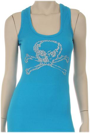 Rhinestone Skulls & Bones Tank - Turquoise