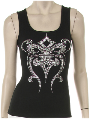 SILVER STUDED EMBELLISHED FLEUR DESIGN TANK