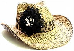 Embellished Flower Cowboy Hat