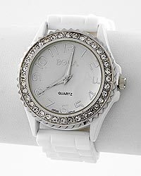 Rhinestone Dial White Jelly Band Watch