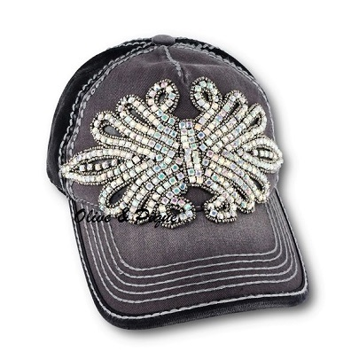 Iridescent Olive & Pique Bling Winged Contrast Baseball Hat