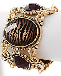 Antique Gold Tone / Smoked Topaz Zebra Print Bracelet