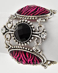 Antique Silver Tone / Black & Fuchsia Zebra Print Bracelet