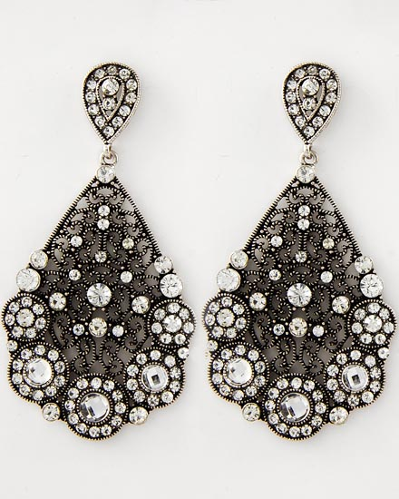 Antique Silver Clear Rhinestone Dangles Earrings