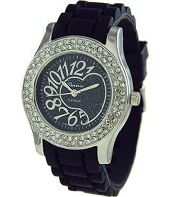 Heart Round Face Jelly Watch w/Rhinestone
