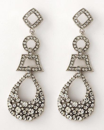 Clear Rhinestone Dangle Earrings