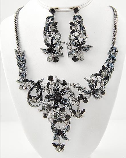 Black & Hematite Rhinestones Flower Necklace & Earring Set