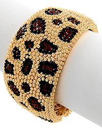Smoked Topaz Rhinestone Leopard Print Bracelet