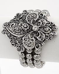 Fleur De Lis / Multi Row Stretch Stretch Bracelet
