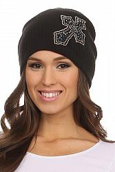 Embellised Cross Beanie - Black