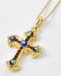 Gold Tone Rhinestone Cross Necklace