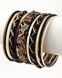 Gold Two-tone / Black Rhinestone 13 Pc Stackable Bracelet