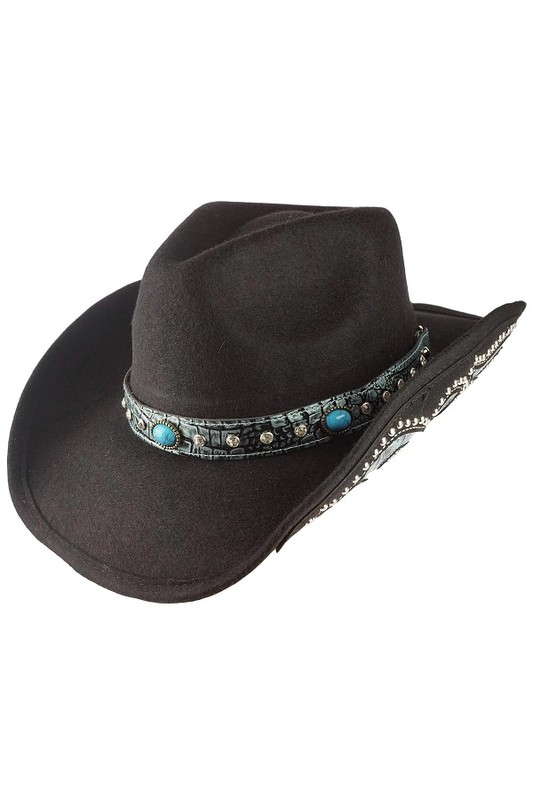 Olive & Pique Wool Felt Cowboy Hat with Turquoise Details