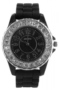 Round Face Jelly Watch with Crystal Surround