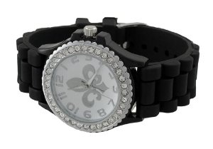 Fleur de Lis Rhinestone Jelly Watch