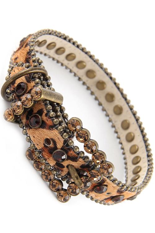 Leopard Rhinestone Leather Dog Collar