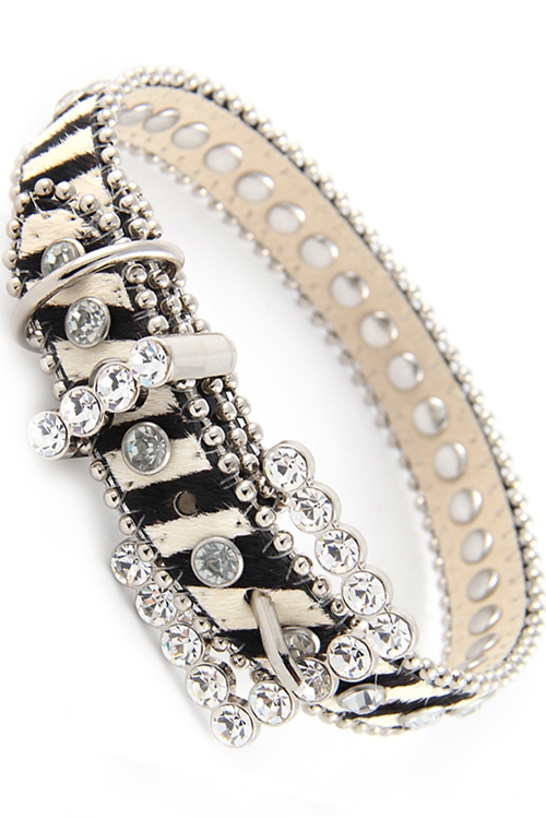 ZEBRA Leather RHINESTONE Dog COLLAR