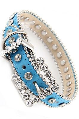 Blue Rhinestone Dog Collar