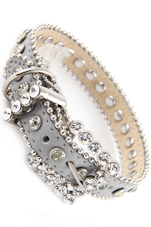 Silver Rhinestone Leather Dog Collar