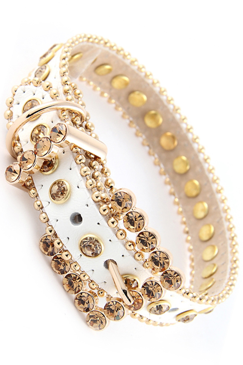 White/Gold Rhinestone Leather Dog Collar