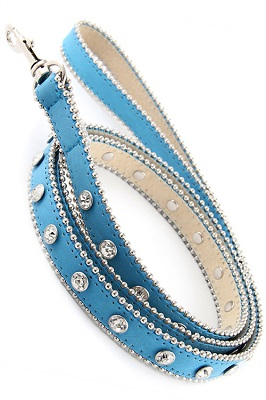 Blue Rhinestone Dog Leash