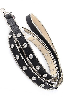 Black Rhinestone Dog Leash