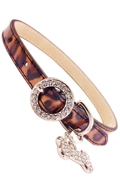 Thin Leopard Rhinstone Buckle Dog Collar
