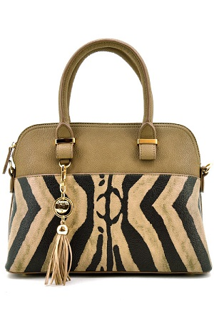 Zebra Print Fashion Handbag - Tan
