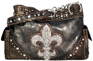 Rhinestone Fleur de Lis Handbag
