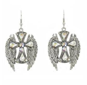 Cross and Wings Rhinestone Earrings