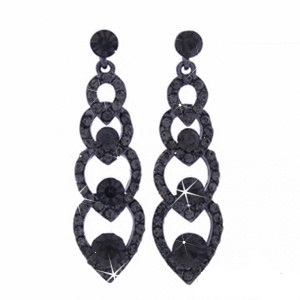 Black Diamond Rhinestone Earrings
