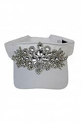 Bling Floral Black Crystal Rhinestone Visor Hat - White