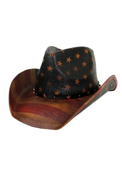 HT-9877 American Flag Star Studded Straw Vintage Cowboy Hat 1695904a1e6a