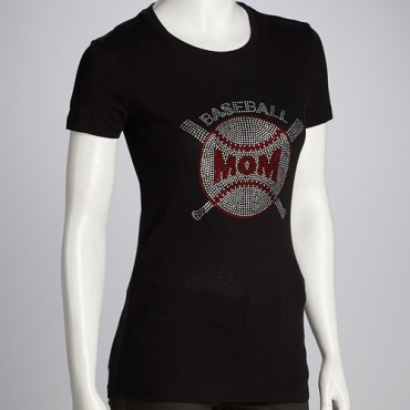 Baseball Mom Rhinestone Tee