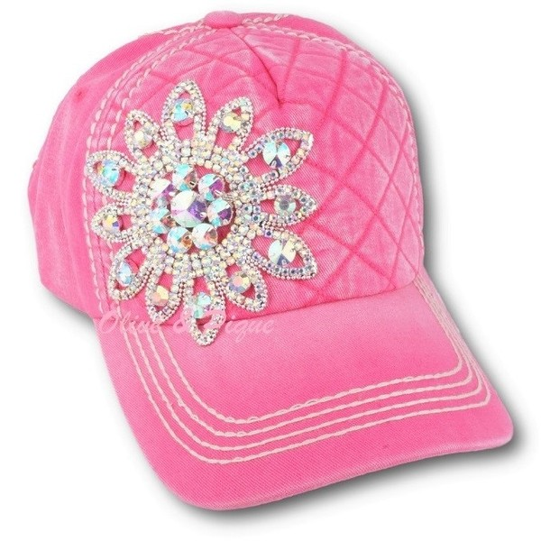 AB Rhinestone Flower on Quilted Front Hat by Olive & Pique