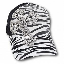 Zebra Rhinetone Cross Baseball Trucker Hat by Olive & Pique