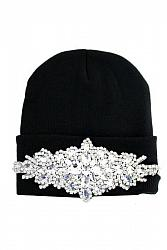 Clear Bling Colored Flower Crystal Long Beanie - Black