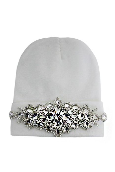 Clear Bling Colored Flower Crystal Long Beanie - White