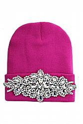 Clear Bling Colored Flower Crystal Long Beanie - Hot Pink