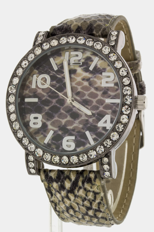 Snake Print Crystal Watch