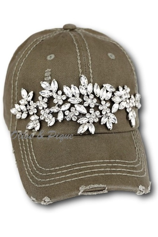 HT-55300 Olive   Pique Glitz Bling Distressed Baseball Style Hat 602ea72a66a