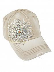 AB Crystal Flower Deconstructed Distressed Khaki Baseball Hat by Olive & Pique