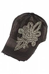 Bling Crystal Fleur de Lis Distressed Baseball Hat by Olive & Pique