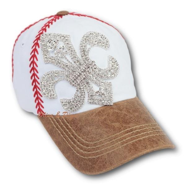 7a7f52ad3ec0c Olive   Pique Rhinestone Bling Fleur de Lis Baseball Stitch Hat